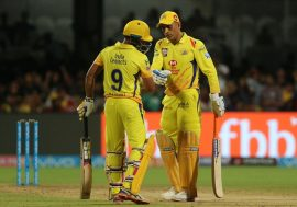 MS Dhoni captain of the Chennai Superkings and Ambati Rayudu of the Chennai Superkings