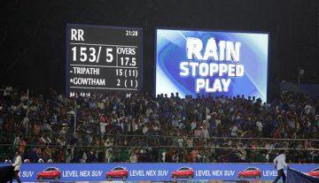 Rain stops play between DD nd RR