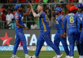 Rajasthan Royals team celebrating wicket dismissal