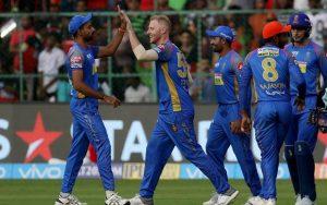 Rajasthan Royals team celebrating wicket dismissal