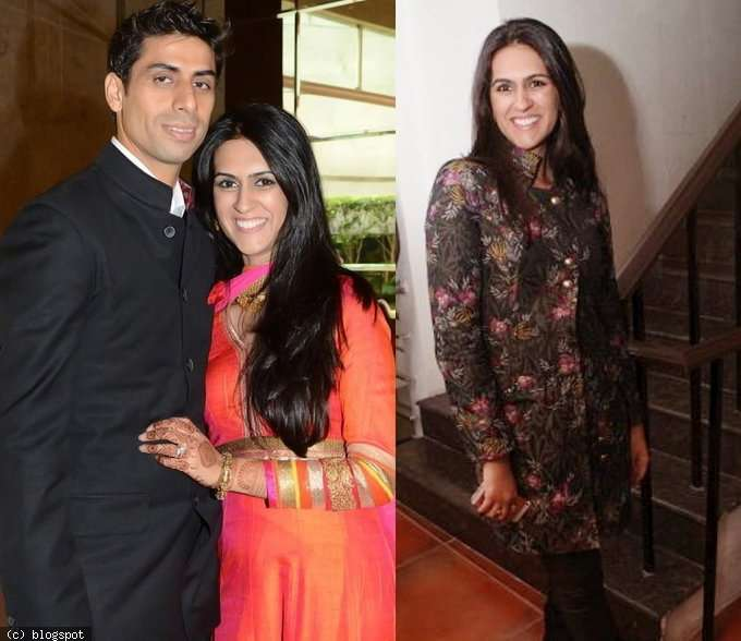 Ashish Nehra with his wife