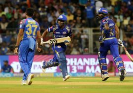 Evin Lewis of the Mumbai Indians and Surya Kumar Yadav of the Mumbai Indians
