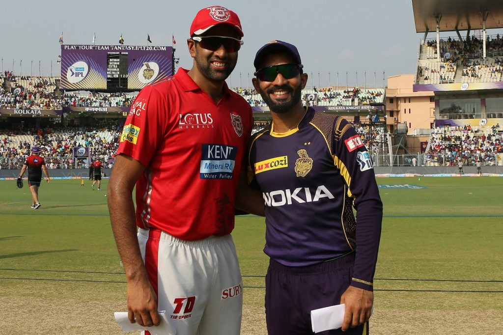 Dinesh Karthik of the Kolkata Knight Riders and Ravichandran Ashwin of the Kings XI Punjab at the toss during match eighteen of the Vivo Indian Premier League 2018 (IPL 2018) between the Kolkata Knightriders and the Kings XI Punjab held at the Eden Gardens Cricket Stadium in Kolkata on the 21st April 2018.