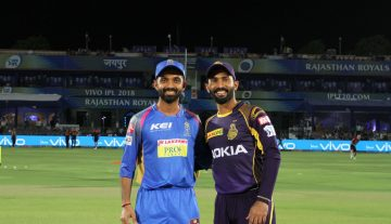 Dinesh Karthik captain of the Kolkata Knight Riders and Ajinkya Rahane captain of the Rajasthan Royals during match fifteen of the Vivo Indian Premier League 2018 (IPL 2018) between the Rajasthan Royals and the Kolkata Knight Riders held at the The Sawai Mansingh Stadium in Jaipur on the 18th April 2018.