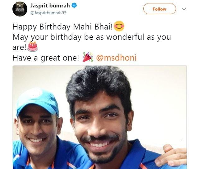 Jaspreet bumrah wishes dhoni